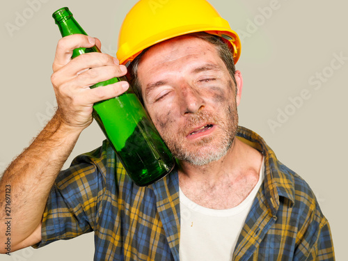Fotografie, Obraz thirsty and tired constructor worker or builder man in safety helmet feeling exh