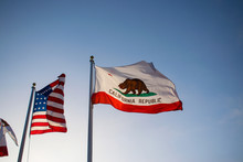 American Flag And California S...