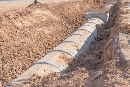 Concrete Drainage Pipe on a Construction Site, Concrete drainage tank on constru Tapéta, Fotótapéta