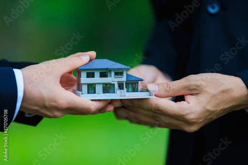 住宅模型・ビジネスマン Canvas Print
