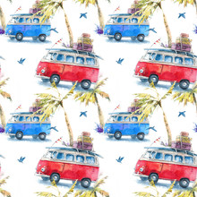 Seamless Watercolor Pattern With A Hippie Bus, Travel And Adventure