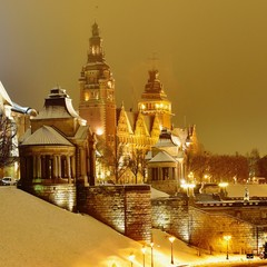 Szczecin in winter night