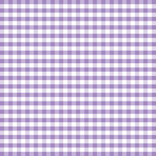 Gingham Check Seamless Pattern In Pastel Lavender And White, EPS8 File Includes Pattern Swatch That Seamlessly Fills Any Shape, For Arts, Crafts, Decor, Fabrics, Tablecloths, Curtains, Baby Nursery