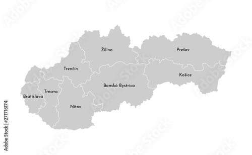 Vector isolated illustration of simplified administrative map of Slovakia Wallpaper Mural