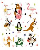 Fototapeta Fototapety na ścianę do pokoju dziecięcego - Collection of Cute Cartoon Animals Musicians Characters Playing Various Musical Instruments Vector Illustration