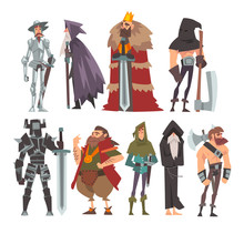 Medieval Historical Cartoon Characters In Traditional Costumes Set, Warrior, King, Knight, Old Wizard, Monk, Executioner Vector Illustration