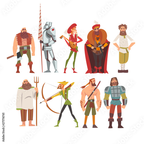 Medieval Historical Cartoon Characters in Traditional Costumes Set, Peasant, War Canvas Print