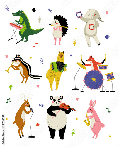 Fotografía Collection of Cute Cartoon Animals Musicians Characters Playing Various Musical