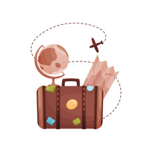 Old Brown Suitcase With Stickers On The Sides. Vector Illustration On White Background.