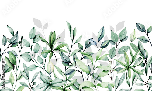 Seamless floral pattern, repeat border with watercolor leaf . Hand paint leaves. For print on wedding invitation, greeting card, wall art, stickers and other. Isolated on white background.