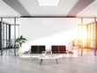 canvas print picture - Blank white wall in concrete waiting room with large windows Mockup 3D rendering