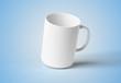 Blank mug mockup isolated on blue 3D rendering