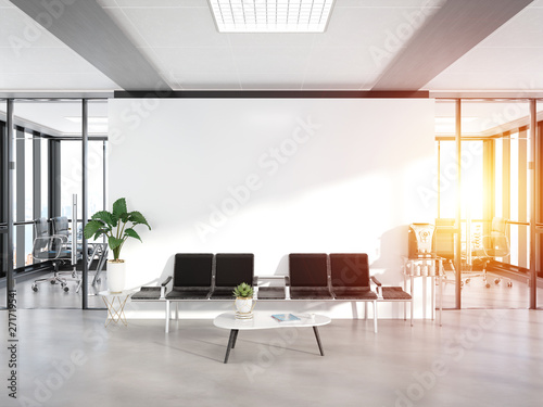 Wall Murals Equestrian Blank white wall in concrete waiting room with large windows Mockup 3D rendering