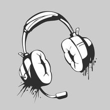 Headset Black And White Graffi...
