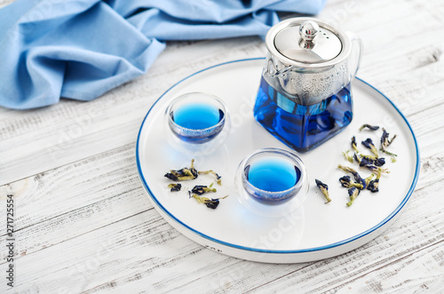 Two glass cup of blue Anchan tea Wallpaper Mural