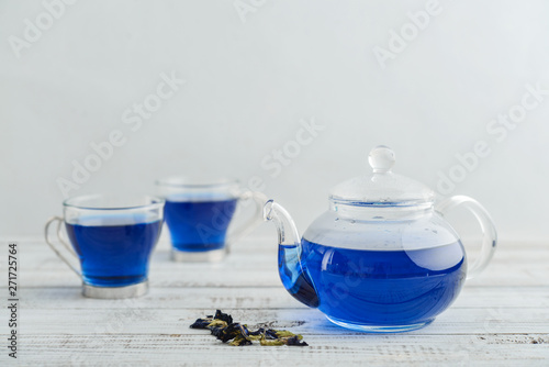 Two glass cup of blue Anchan tea Canvas Print