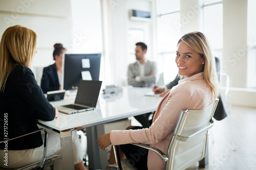 Fototapety, obrazy: Businesspeople discussing together in conference room during meeting at office