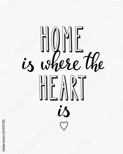 Papiers peints Positive Typography Home is where the heart is vector lettering
