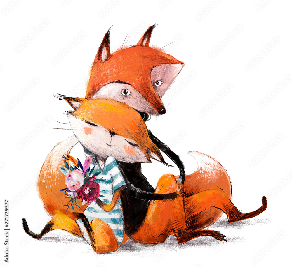 cute lovely couple of foxes <span>plik: #271729377 | autor: cofeee</span>