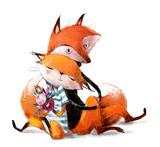 Fototapeta Fototapety na ścianę do pokoju dziecięcego - cute lovely couple of foxes