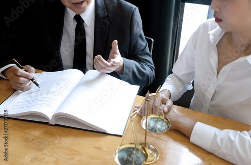 Photo Lawyer or judge gavel with balance work