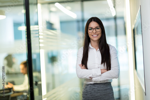 Photo Portrait of successful beautiful businesswoman in office