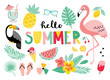Set of tropical summer icons. Hand drawn vector illustration.  Flamingo, toucan, palm leaves, fruits, food, drinks. Summertime poster, scrapbooking elements.