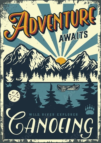 Fotografija Vintage summer adventure colorful poster