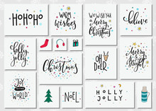 Christmas New Year Lettering Typography Set