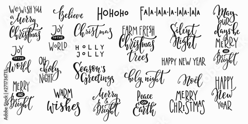 Deurstickers Positive Typography Christmas new year lettering typography set
