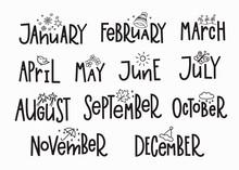 Months Year Calendar Lettering...