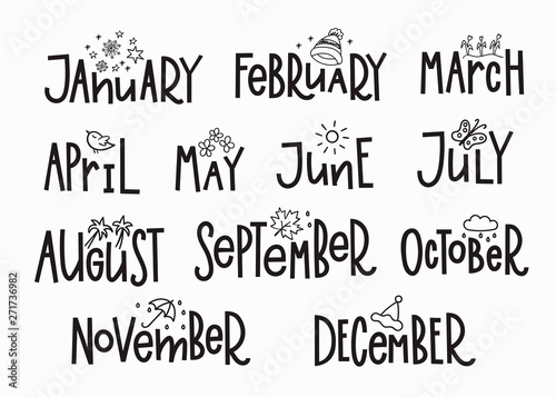 Tuinposter Positive Typography Months year calendar lettering typography