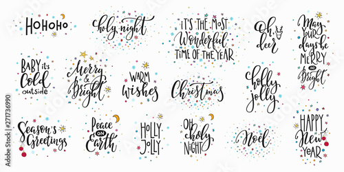 Canvas Prints Positive Typography Christmas new year lettering typography set