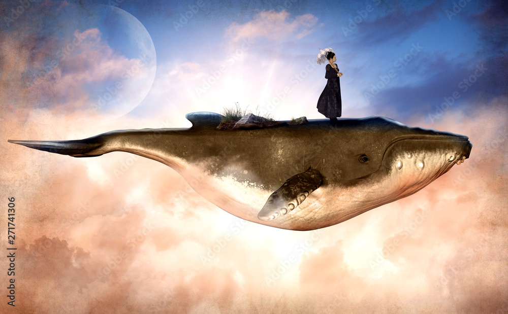 Fototapeta Surreal Flying Humpback Whale and a Woman on Top