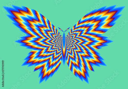 Valokuvatapetti Fire butterfly. Optical illusion of movement.