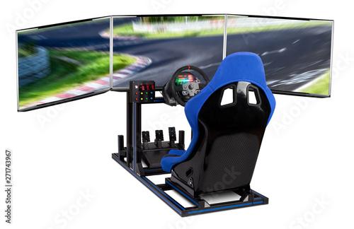 DIY simracing aluminum simulator rig for video game racing