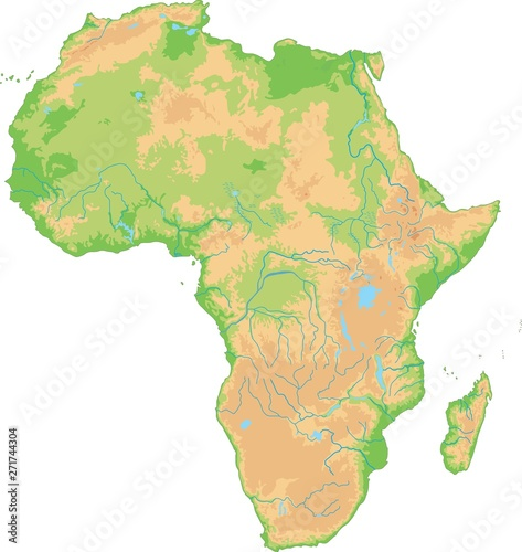 Fototapeta High detailed Africa physical map.
