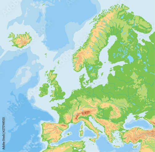 Fototapeta High detailed Europe physical map.