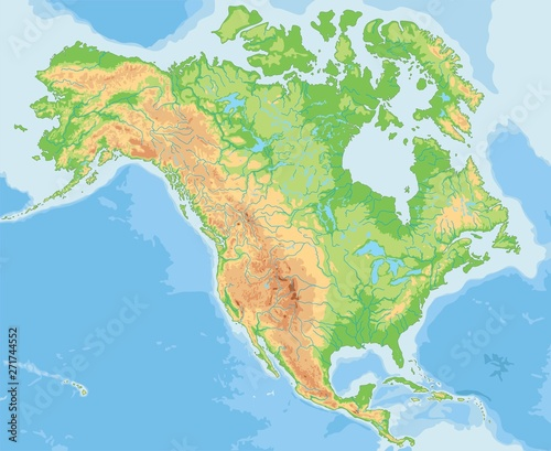 Fotografie, Obraz  High detailed North America physical map.