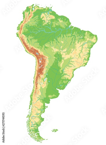 Fotografie, Obraz  High detailed South America physical map.