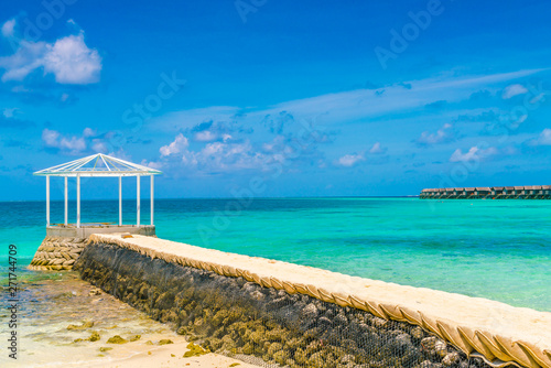 In de dag Australië Beautiful water villas in tropical Maldives island .