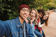 canvas print picture - Group if cheerful multiethnic friends teenagers