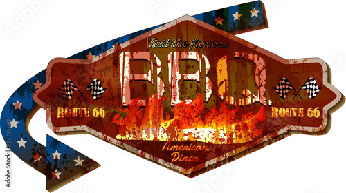 Fototapeta retro super grungy old Route 66 barbecue BBQ diner sign, vintage style vector Il