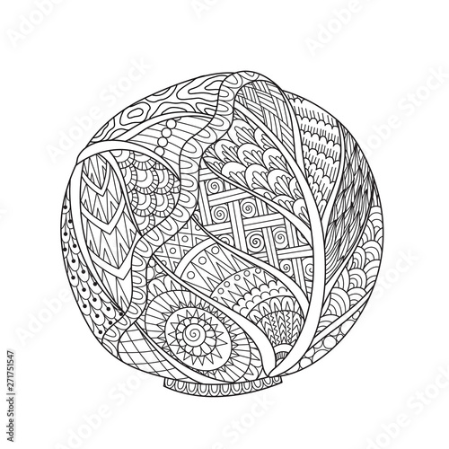 Obraz na plátne Line art drawing of cabbage with editable stroke width for printing on stuffs and adult coloring book or coloring page