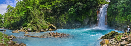 Panoramic view of Rio Celeste river and waterfall, Tenorio volcano national park, Costa rica