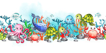 Watercolor Children's Seamless Borders With Underwater Creatures: Whale, Turtle, Crab, Octopus, Starfish, Narwhal, Jellyfish, Seaweed, Corals, Shells For Baby Shower, Shirt Design, Invitations