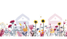 Bright Seamless Meadow Border With Beehives, Bees, And Flowers. Vector. Apiary Concept.