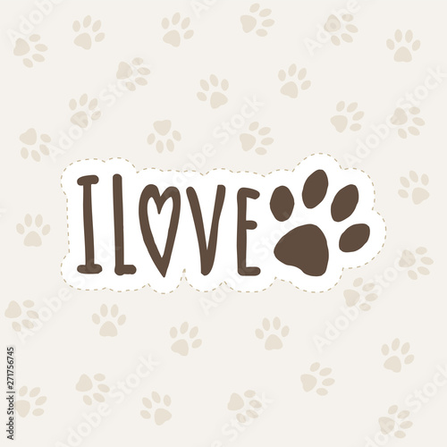 The inscription i love dog concept with paw print Canvas Print