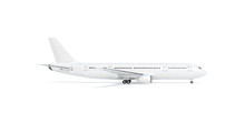 Blank White Airplane Mock Up Stand, Profile, Isolated