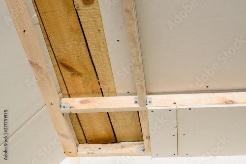 Making Suspended Ceiling Using Wooden Frame And Drywall In A